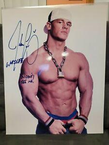 John Cena WWE WWF Hand Signed Autographed 16X20 Photo Double Inscription COA