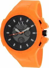 NEW ARMANI EXCHANGE ORANGE RUBBER,SILICONE BAND, CHRONO. BLACK DIAL WATCH-AX1286