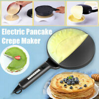 Electric Pancake Crepe Maker Batter Tray Egg Pan Beater Handle Non-Stick Kitchen