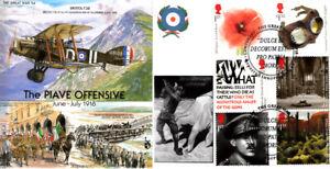 GW54 Great War RAF cover WWI Piave 100th Anni Full Set FDC Owestry postmark