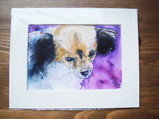 Original Mixed media painting of a puppy dog. Spaniel.