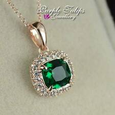 18CT Rose Gold Plated Emerald Princess Cut Made With Swarovski Diamond Necklace