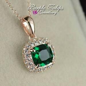 18CT Rose Gold Plated Emerald Princess Cut Made With Swarovski Diamond Necklace
