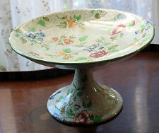 An attractive late 19th century Pedestal compote brightly decorated with flora
