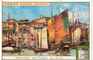 China old card Tangku harbour gate at Peiho ~1910