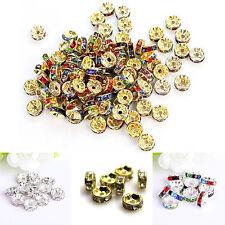 100Pcs/set Wholesale Rhinestone Crystal Rondelle Round Loose Spacer Beads 8mm OK