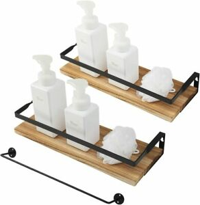 Wall Mounted Floating Shelves Towel Holder Rustic Wood Kitchen Bathroom 2 PCS