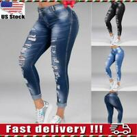 Women Ripped Jeans High Waist Denim Pencil Pants Skinny Stretch Jegging Trousers