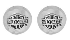 Harley-Davidson Women's .925 Silver Round Hammered B&S Post Earrings (HDE0305)