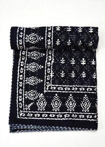 Indian Reversible Block Print Kantha Quilt Black Twin Blanket Throw Art