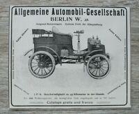 Werbung Anzeige 1900 Alg Automobil Gesellschaft Berlin Auto Oldtimer Klingenberg