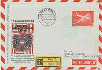 """ÖSTERREICH 1961 AUA 4 S. R-Ballonpost-Bf (WELS 2) mit Freiballon HB-BIV """"Albis"""""""