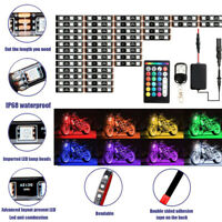 12pcs Motorcycle RGB LED Strip Underglow Light Kit with 2 Remote Controls