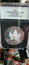 New Listing2014 Canadian Maple Leaf Polar Bear Colored 1 Oz .999 Silver