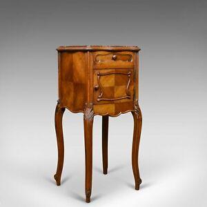 Antique French Bedside Cabinet, Edwardian, Walnut, Marble, Pot Cupboard, c.1910