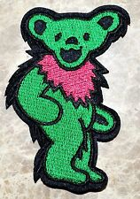 GRATEFUL DEAD DANCING BEAR Green Pink iron on embroidered patch