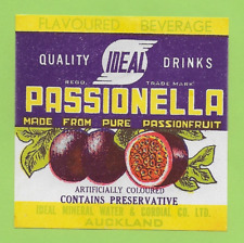 IDEAL CORDIAL CO. (New Zealand) PASSIONELLA 1950's Label UNUSED Soft Drink