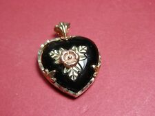 10k Yellow Gold Black Onyx Reversible Heart Heart Pendant