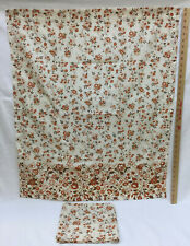 """Pair Fabric Curtain Panels Retro Floral Ivory & Brown Flower 35"""" L x 30"""" W Set 2"""