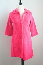 Vintage 60s Hot Pink Fuzzy Shag Bed Jacket Coat MOD  Small Cropped Retro Pin Up