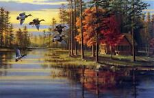 """Mary Pettis """" Autumn Glow"""" Duck Cabin """" Print  29"""" x 19"""" Signed and Numbered"""