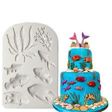 New 3D Sea Coral Fish Seaweed Silicone Fondant Cake Decorating Tools Mould DIY
