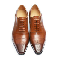 Mens Square Toe Oxfords Closed Laces Leather Casual Shoes Business Dress Wingtip