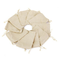 10Pcs Small Linen Jute Drawstring Pouch Jewelry Gift Bag Vintage Wedding