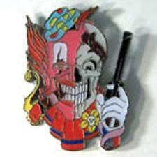 CLOWN SKULL HAT OR JACKET PIN pin557 new jacket lapel metal skeleton guns scary