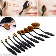 10Pcs/set Pro Artis Style Professional Toothbrush Shape Makeup Oval Puff Brush