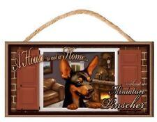 "Miniature Pinscher ""Paws on the Windowsill"" A House is Not a Home Dog Sign Plaqu"