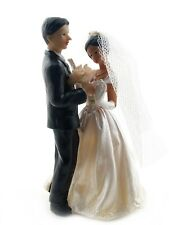 """African American Bride in Veil and Groom Cake Top Figurine 4.5"""" Tall with Roses"""