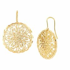 Italian-Made Floral Filigree Circle Drop Earrings in 18K Gold-Plated Bronze