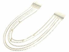 Celebrity Fashion Gold Crystal Hair Chain Clip Grip Slide Party