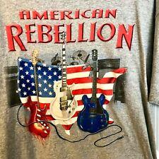 USA Flag Rockabilly Guitar Graphic Band Tee XL Mens Rock 'n Roll American Rebel
