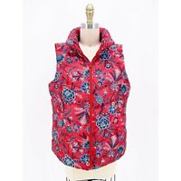 Lands End Red Floral Down 600 Fill Puffer Vest Sleeveless Coat Size M 10 12 New