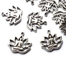 15 Yoga Lotus Flower Meditation Healing Charms Pendants 18mm Silver Plated Craft