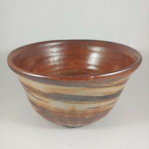 "HANDMADE Signed Large 6"" Metallic Copper Swirl Pottery Ramen Soup Bowl"