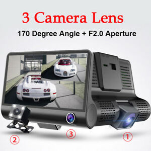4'' HD 1080P Dual Lens DVR Dash G-sensor Video Recorder+ Rearview Camera Bravo