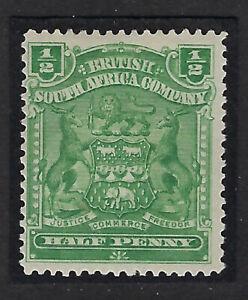 RHODESIA : 1898 1/2d dull bluish-green  SG75 mint hinged