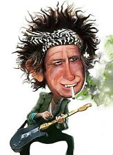 The Rolling Stones-Keith Richards Caricature Hard Rock Sticker or Magnet