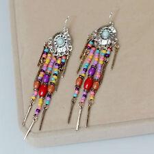Boucles d`Oreilles Argenté Mini Perle Frange Pompon Rouge Jaune Bohême Style C1