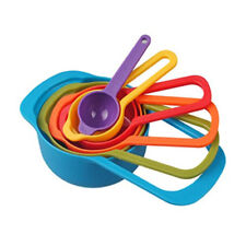 6pc Colorful Nesting Plastic Measuring Cups & Spoons Set - 1/2 tbsp to 1 Cup