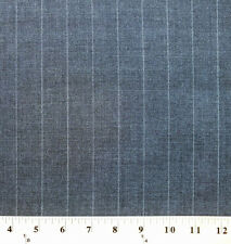 100% Wool Pinstripe Suiting Stripe Charcoal Grey Fabric By the Yard - D378.11