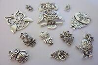 12 pce Metal Silver Tone Owl Charm Pendants Jewellery Making Craft