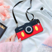 Trendy 3D cute Cartoon camera Strap Silicone case Cover for iPhone 8 X 7 6S Plus