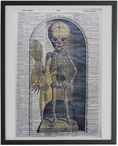 Skeleton Child Print No.656, halloween prints, dictionary art, gothic posters