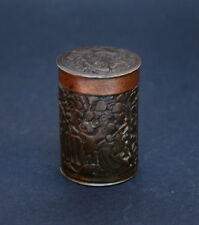 ANTIQUE CHINESE COPPER BRONZE ENGRAVED CONTAINER BOX - OPIUM WARS PERIOD