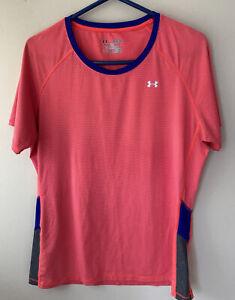 Under Armour HeatGear Women's XL Short Sleeve T-Shirt Fitted Neon Orange