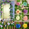 Rosenköpfe Dekor Grünpflanze Efeu Blatt Künstliche Blume Kunststoff Girlande Reb